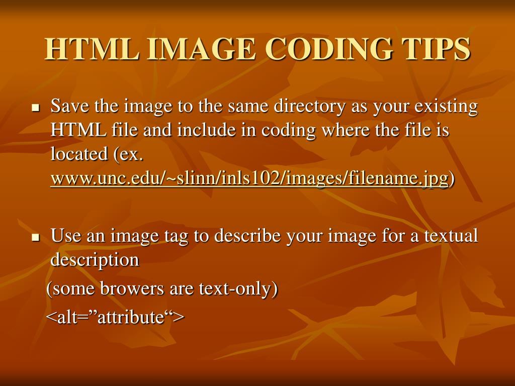 HTML IMAGE CODING TIPS