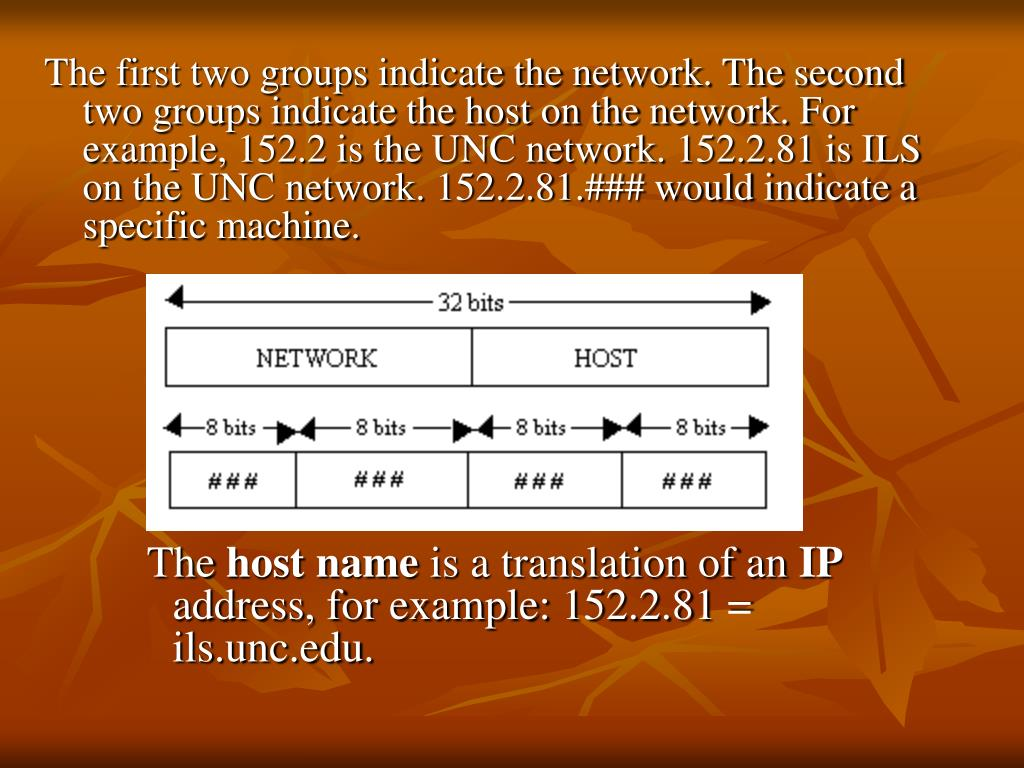 The first two groups indicate the network. The second two groups indicate the host on the network. For example, 152.2 is the UNC network. 152.2.81 is ILS on the UNC network. 152.2.81.### would indicate a specific machine.