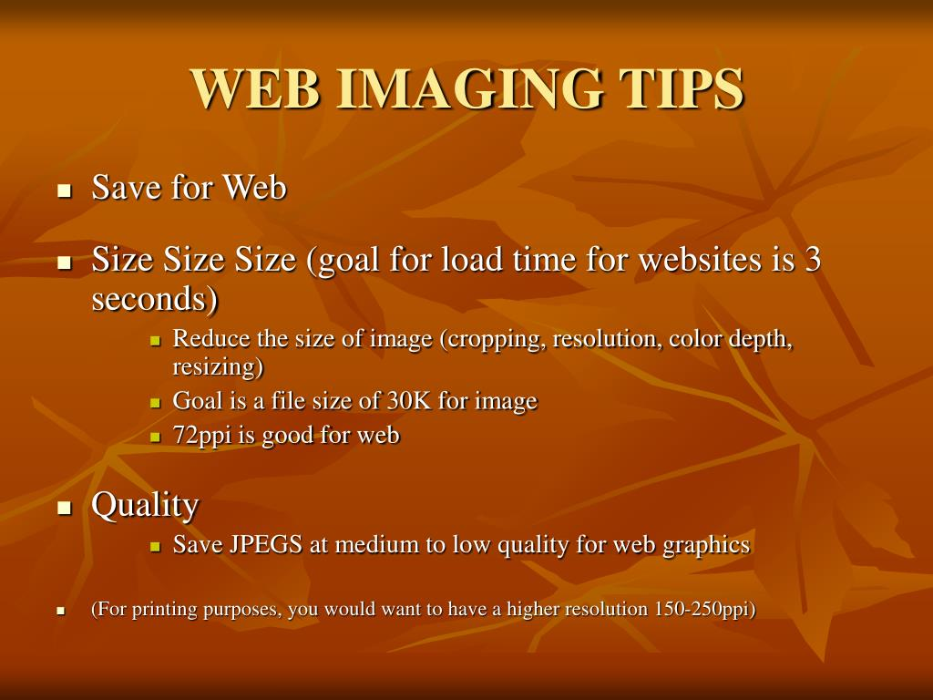 WEB IMAGING TIPS