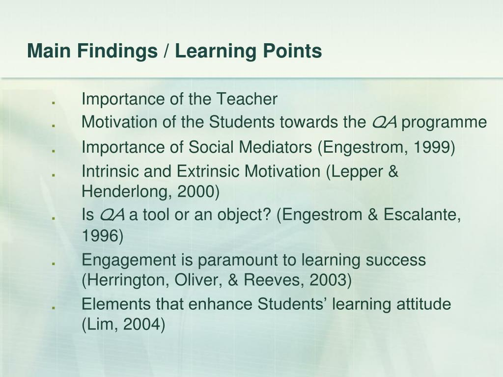Main Findings / Learning Points