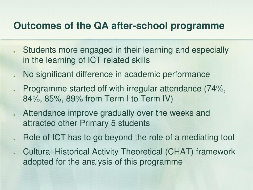 Outcomes of the QA after-school programme