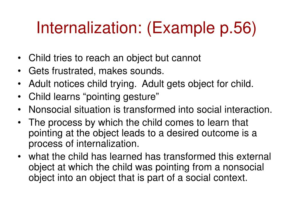 Internalization: (Example p.56)
