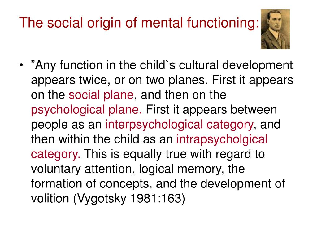 The social origin of mental functioning:
