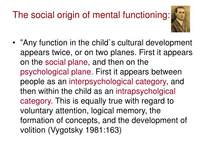 The social origin of mental functioning