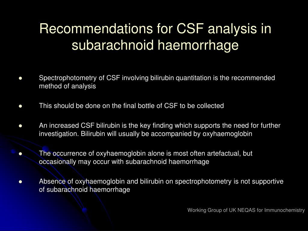 Recommendations for CSF analysis