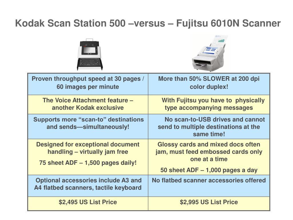 Kodak Scan Station 500 –versus – Fujitsu 6010N Scanner