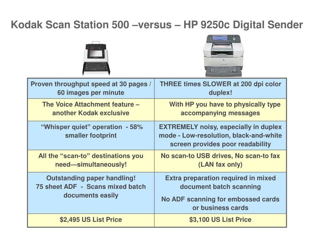 Kodak Scan Station 500 –versus – HP 9250c Digital Sender
