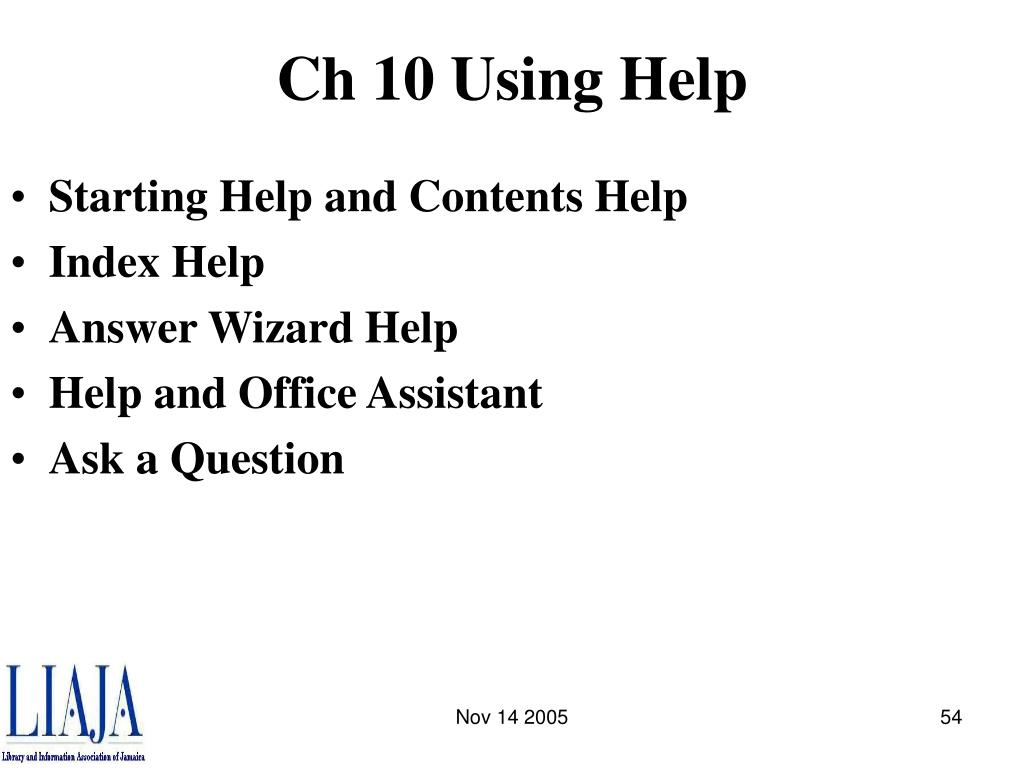 Ch 10 Using Help