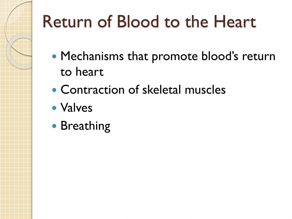 Return of Blood to the Heart