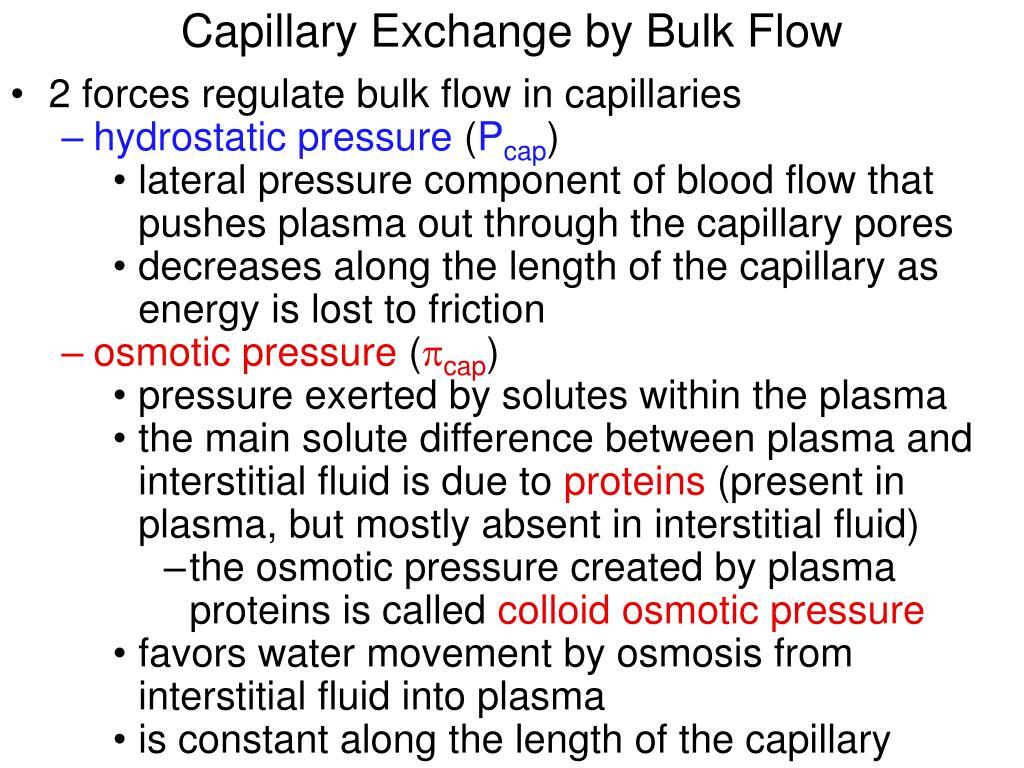 Capillary Exchange by Bulk Flow
