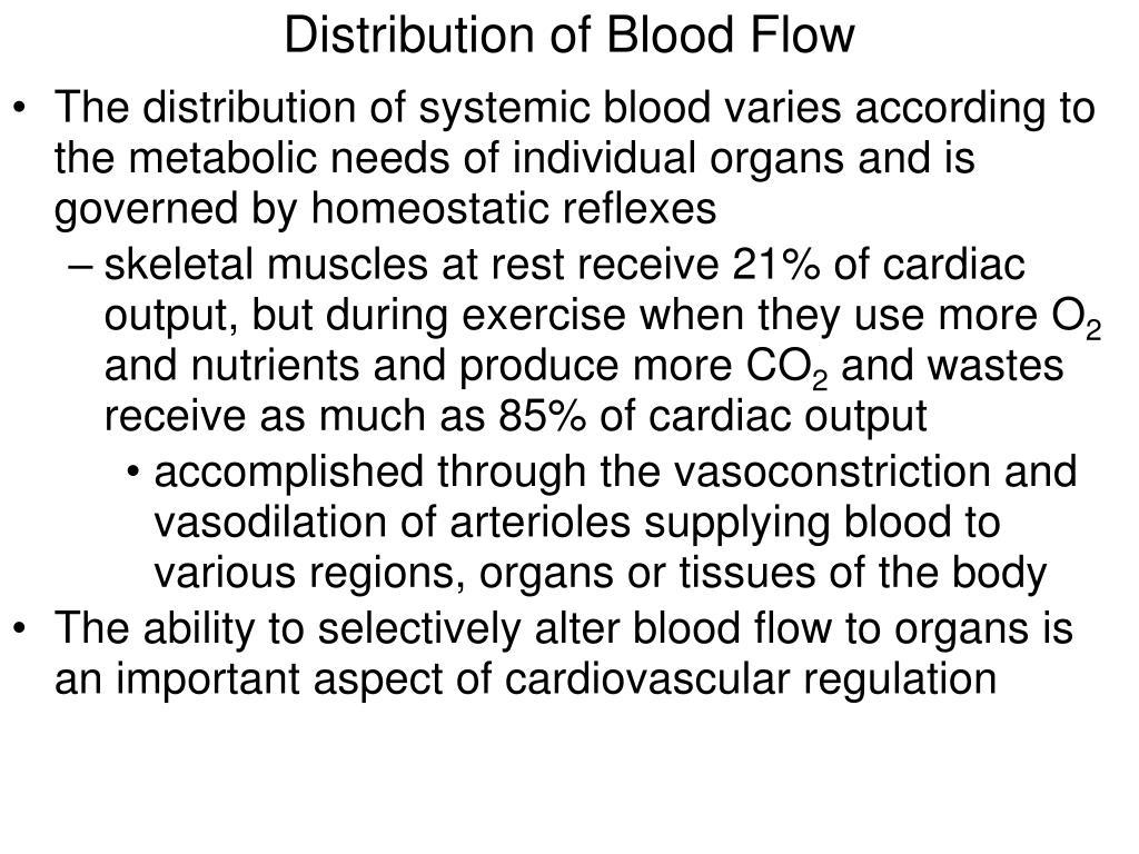Distribution of Blood Flow