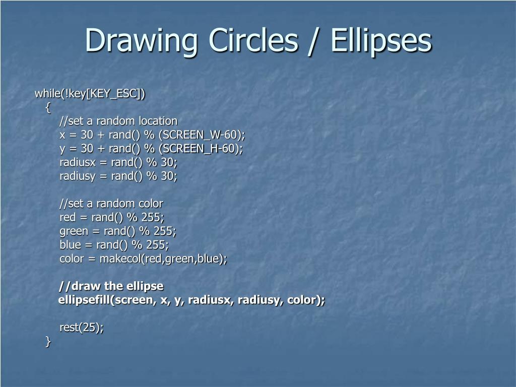 Drawing Circles / Ellipses
