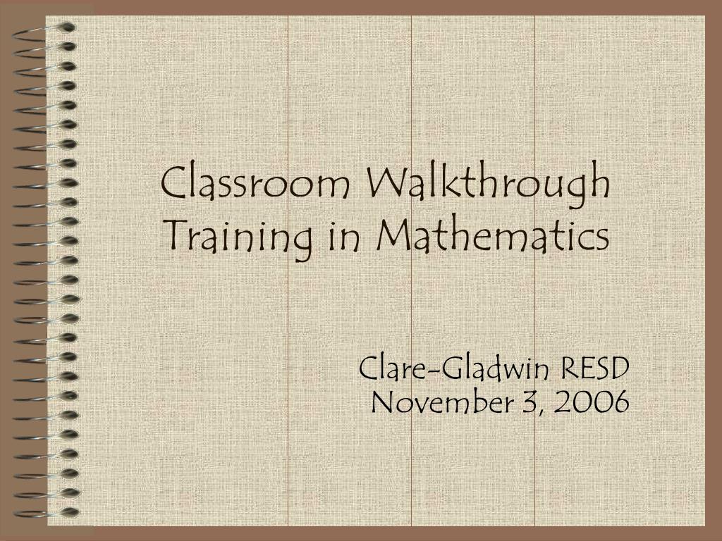 Classroom Walkthrough Training in Mathematics