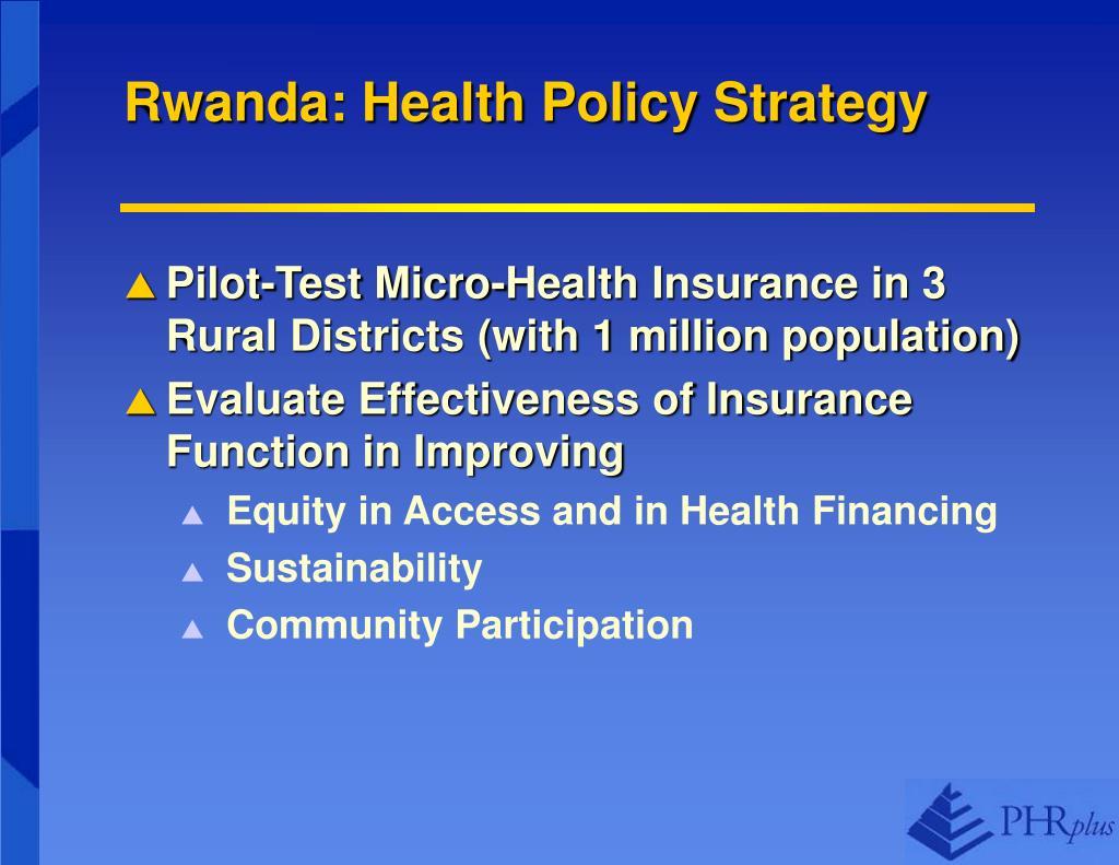 Rwanda: Health Policy Strategy