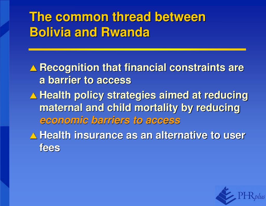 The common thread between Bolivia and Rwanda