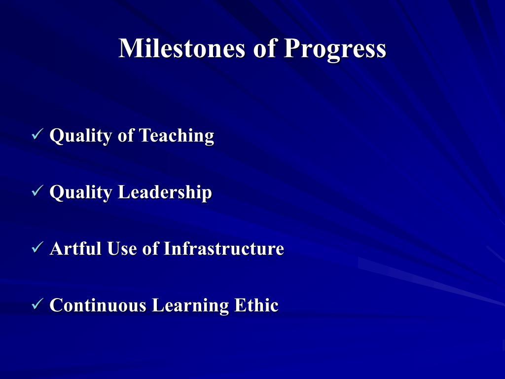 Milestones of Progress