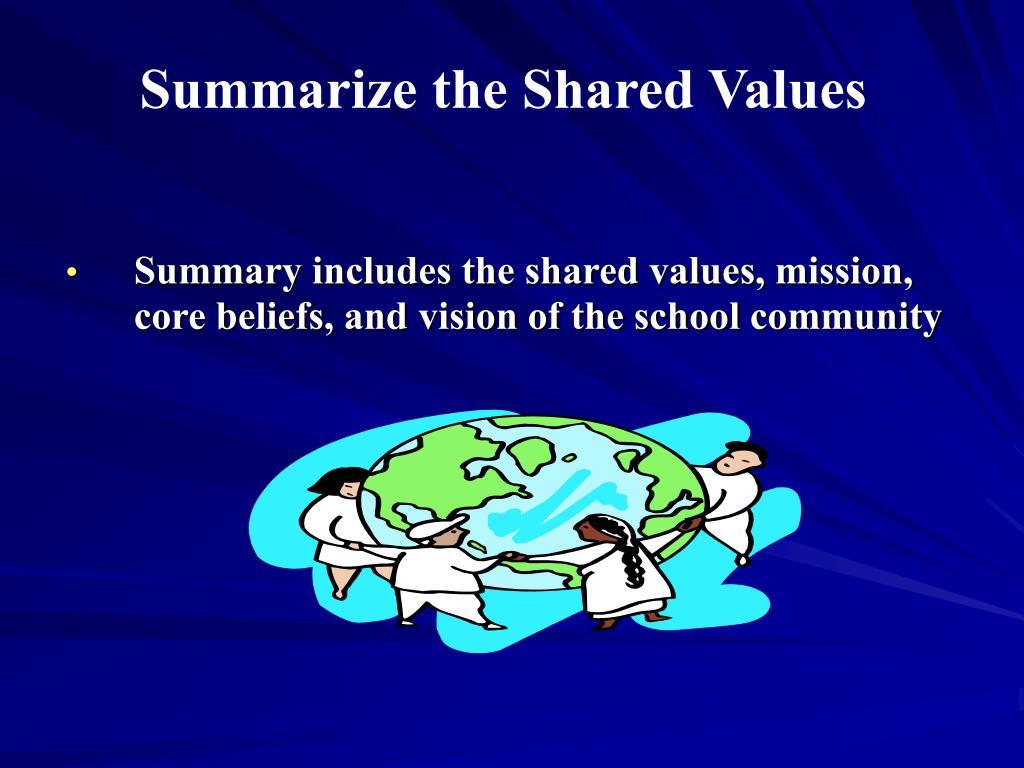Summarize the Shared Values