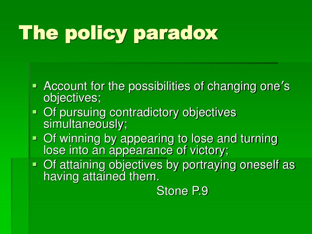 The policy paradox