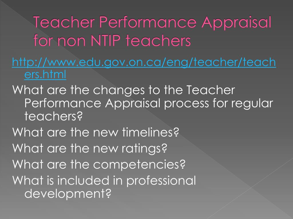 Teacher Performance Appraisal for non NTIP teachers