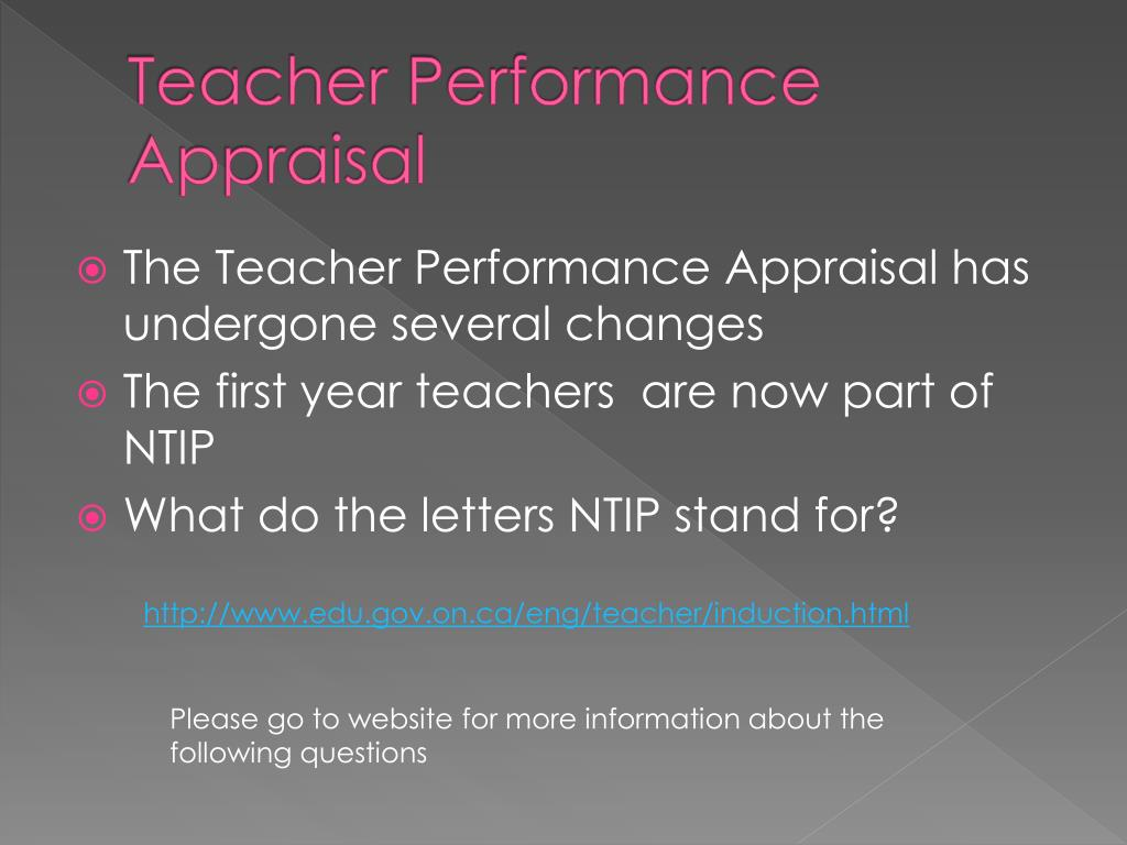 Teacher Performance Appraisal