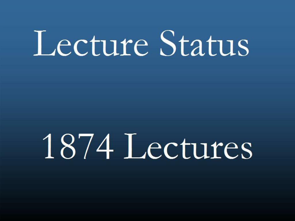 Lecture Status