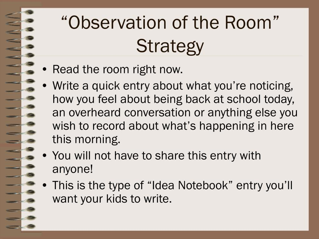 """""""Observation of the Room"""" Strategy"""
