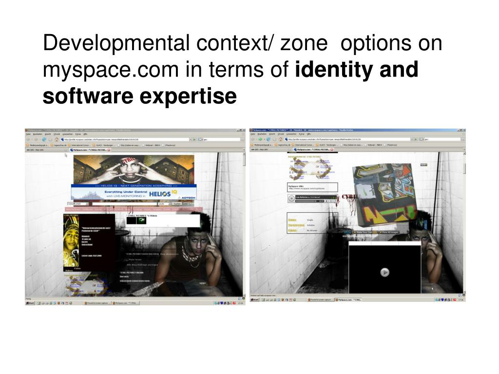 Developmental context/ zone  options on myspace.com in terms of