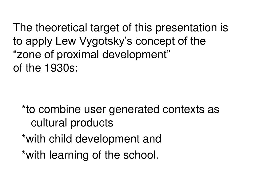 The theoretical target of this presentation is to apply Lew Vygotsky's concept of the