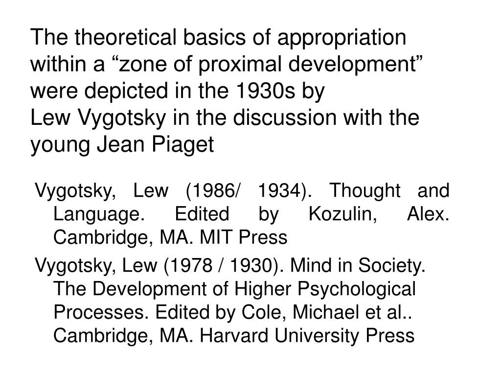 "The theoretical basics of appropriation within a ""zone of proximal development"" were depicted in the 1930s by"