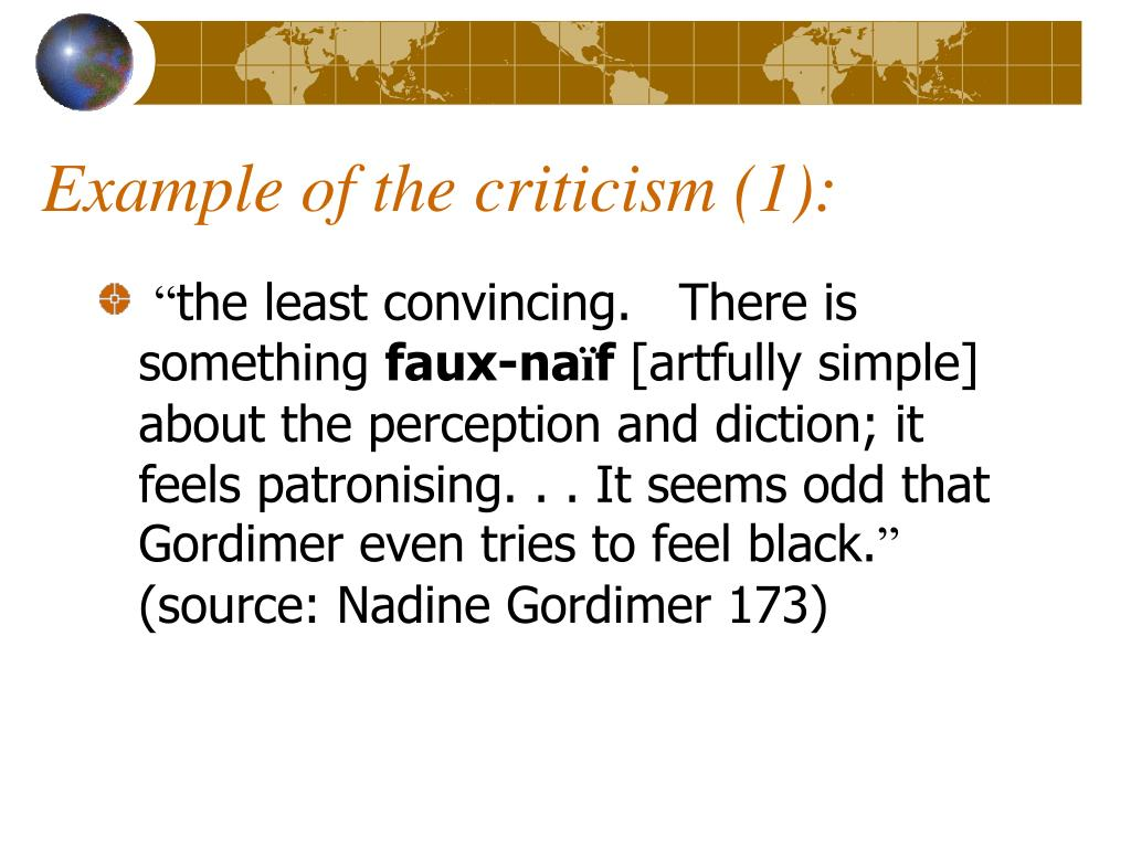 Example of the criticism (1):
