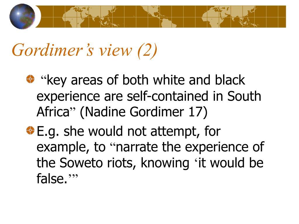 Gordimer's view (2)