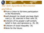 the anti apartheid movements and ideas
