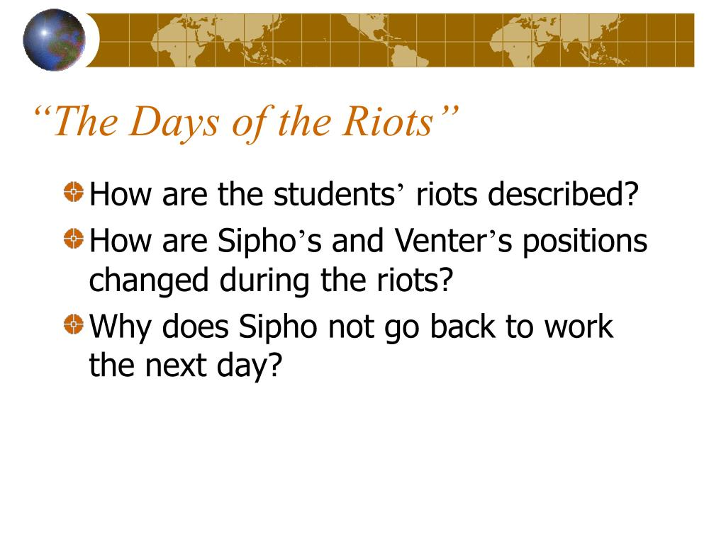 """""""The Days of the Riots"""""""