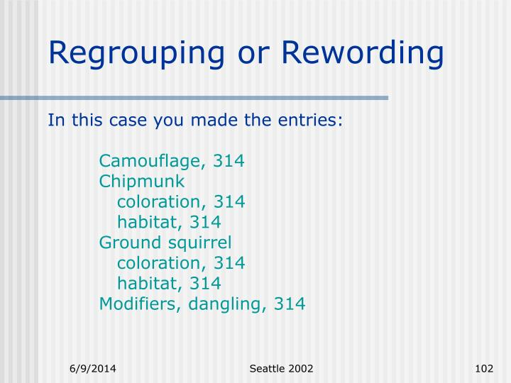 Regrouping or Rewording