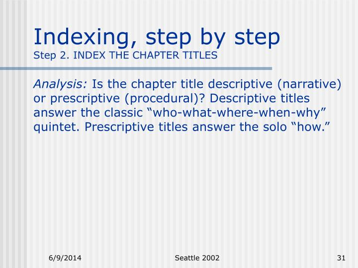 Indexing, step by step