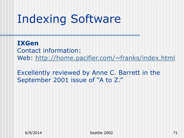 Indexing Software