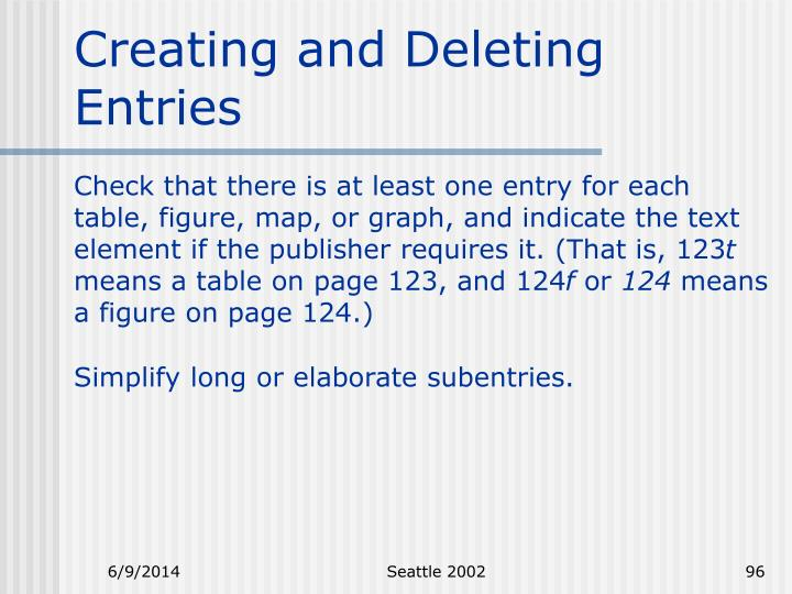 Creating and Deleting Entries