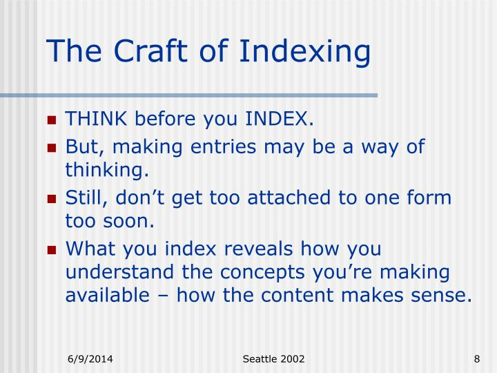 The Craft of Indexing