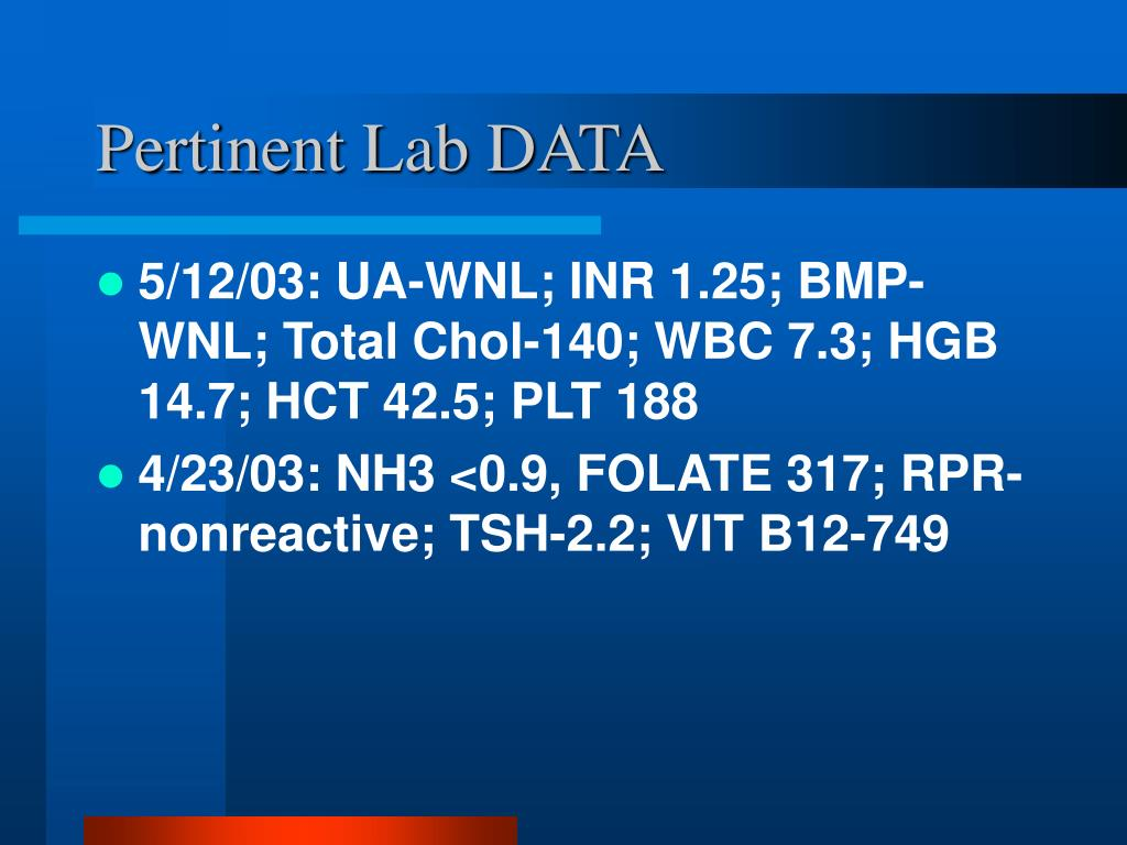 Pertinent Lab DATA
