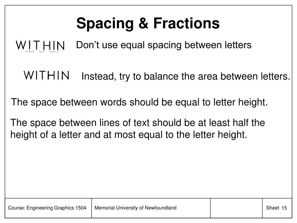 Spacing & Fractions