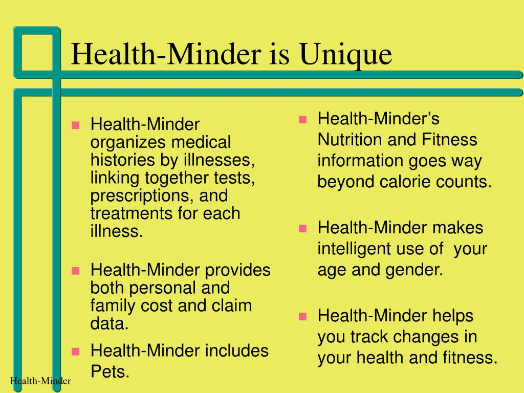 Health-Minder organizes medical histories by illnesses, linking together tests, prescriptions, and treatments for each illness.