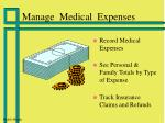 manage medical expenses