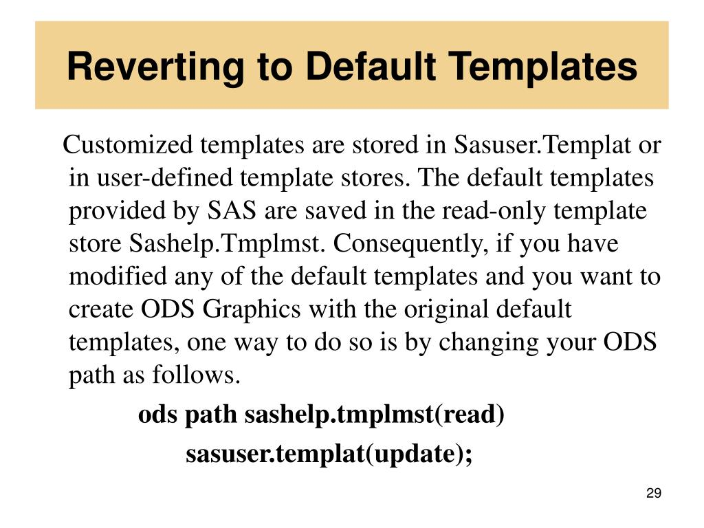 Reverting to Default Templates