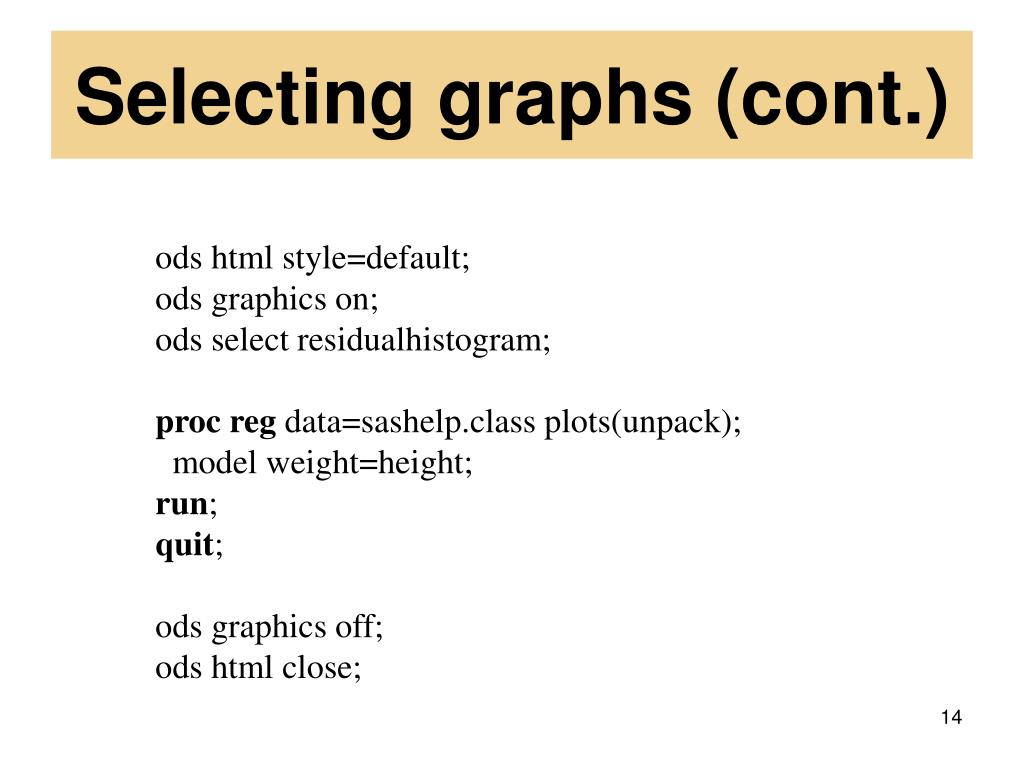 Selecting graphs (cont.)