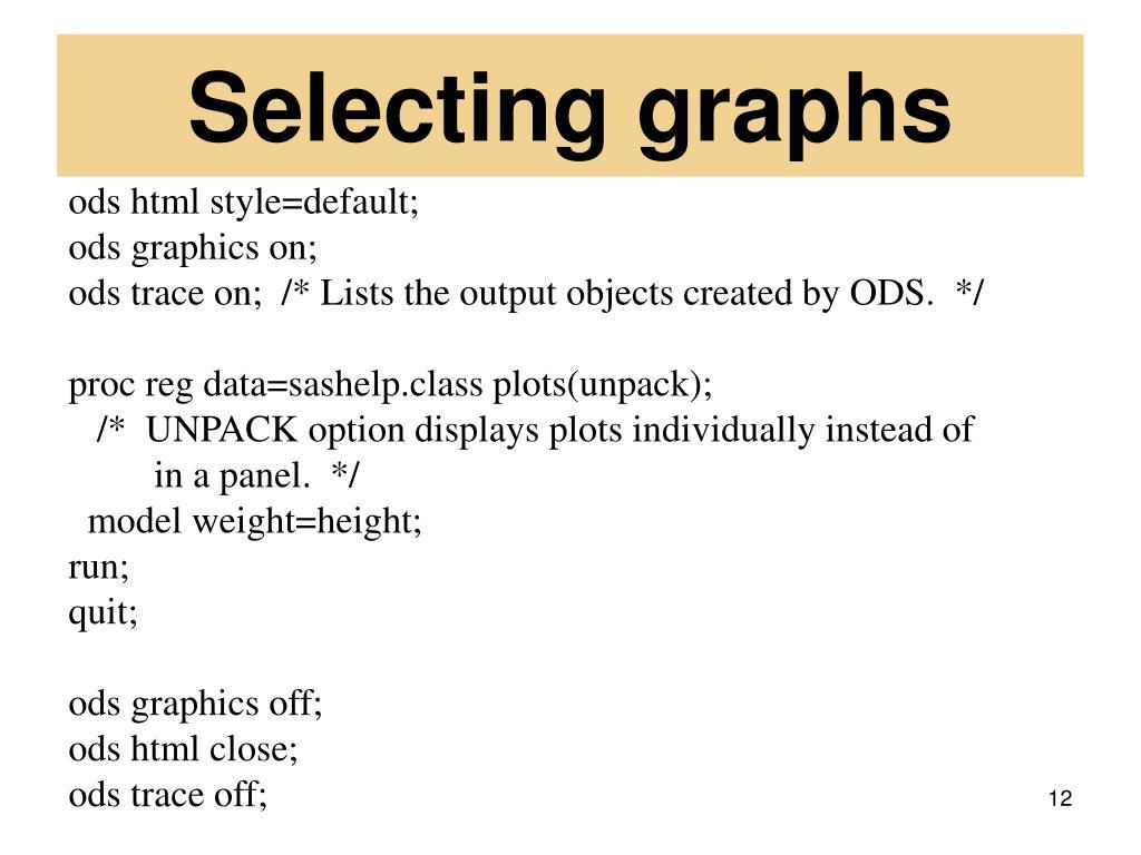 Selecting graphs