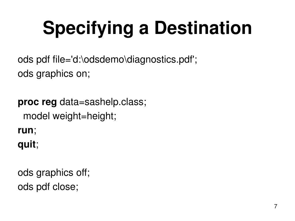 Specifying a Destination