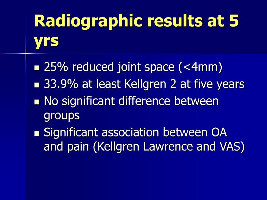 Radiographic results at 5 yrs