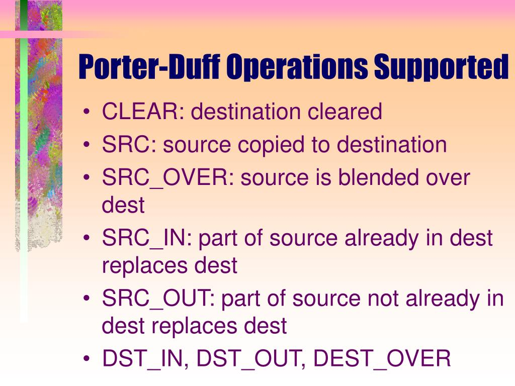 Porter-Duff Operations Supported