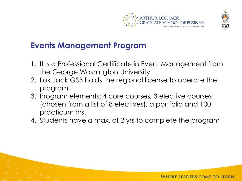 Events Management Program