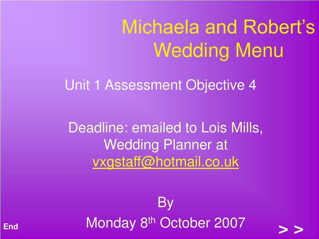 Michaela and Robert's Wedding Menu